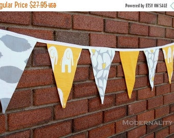 SALE Fabric Garland- Party Bunting Banner- Yellow and Grey Pennant Flags- Wedding Decoration, Baby Shower, Birthday, Holiday Photo Prop