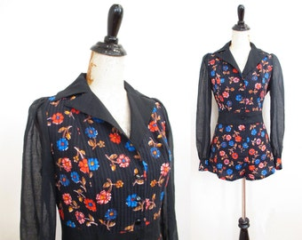 Vintage 1970s Romper | Black Floral Print 1970s 60s Romper | size small