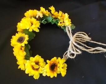 Silk Sunflower Wedding Flower Crown Bridal Headpiece Yellow Rustic Chic Hair Weath Bridesmaid Bridal Accessories Festival Halo Garland