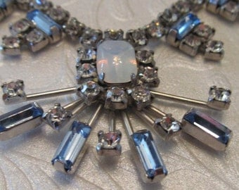 Vintage Atomic Necklace with Ice and blue RhinestonesRound and Baguette Cut and Moonglow Stone
