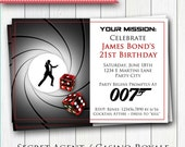 SPY Printable INVITATION - Birthday, Bachelor or Murder Mystery Invite - Customizable - Segret Agent DIY