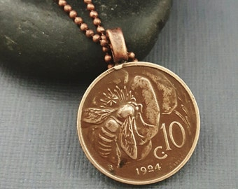 Coin Jewelry - BEE necklace - Flower necklace - antique Italy art nouveau copper coin - bee jewelry - flower jewelry - Italy necklace