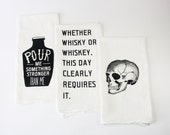 Tea towels Set of 3 screen printed whiskey and skull bar towels set perfect mens gift