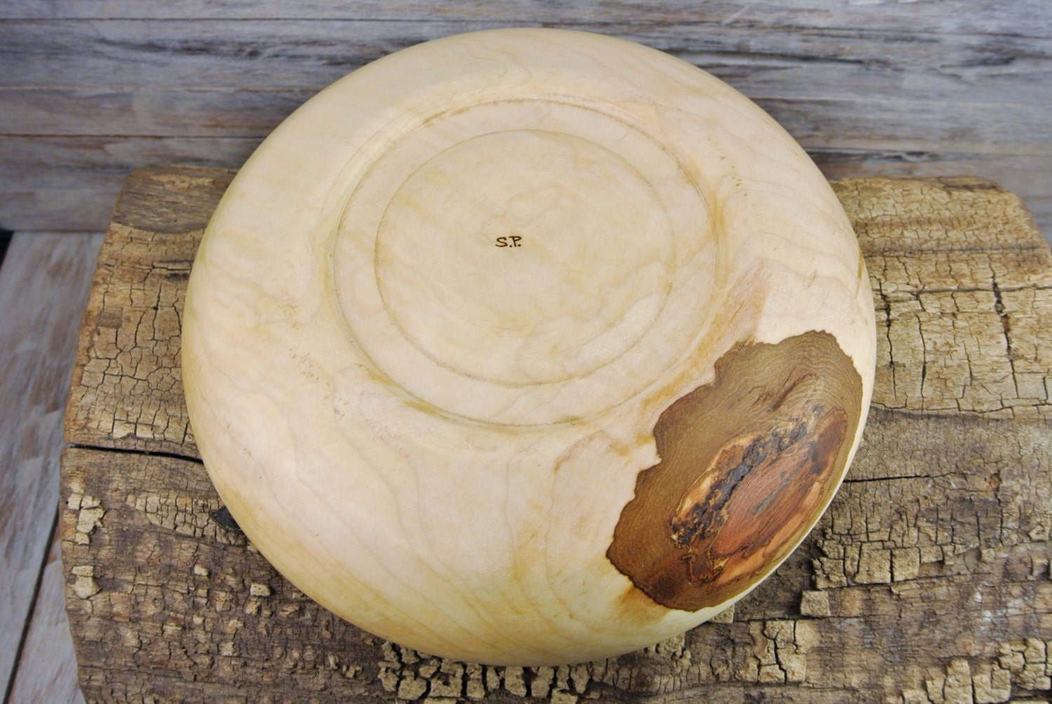 Wooden centerpiece bowl curly maple hand carved