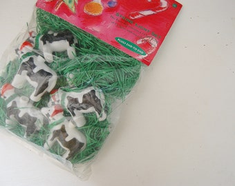 Christmas String Lights with cow in Santa hat plastic covers, Kitsch holiday decor, Primal Lite