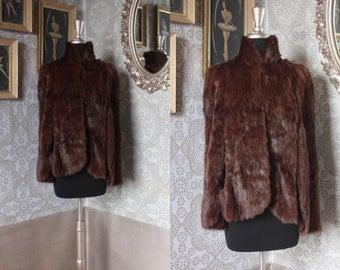 Vintage 1940's Brown Fur Cape One Size