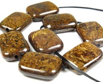 BARGAIN - Bronzite Rectangle Bead  - 16mm x 12mm x 5mm - 8 beads - B3819