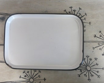 White Porcelain Enamelware Tray Black and White Serving Tray Dresser Tray Art Deco Tray Enamel Tray Rustic Home Heavy Tray