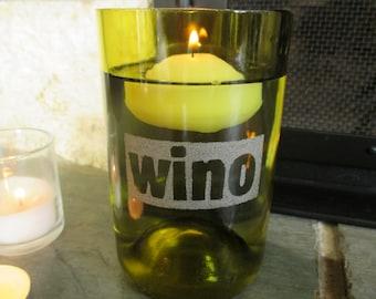 "Hand-Etched Reversed Type ""Wino"" Wine Bottle Vase / Candle Holder + Floating Candle"