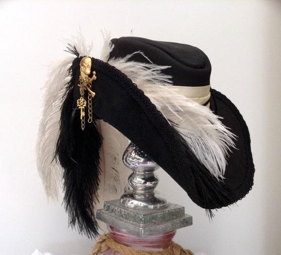 Black leather Steampunk skull & crosshones Cavalier musketeer hat by Blackpin steampunk buy now online
