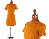 Vintage 1960's Golden + Red Abstract Diamond Print Mini Mod Shift Baby Doll Knit Dress S