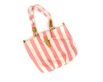 Vintage 1980's Pink + White Beach Stripe Cotton Canvas Summer Shoulder Oversized Purse Bag Handbag