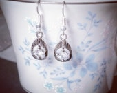 Small Vintage Tear Drop Crystals - Silver Earrings - Antiqued Silver - Great Bridal Earrings - Bridesmaid Gifts