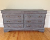 SOLD ** Chic and Shabby Grey Dresser