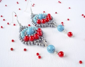 Ethnic earrings, ukrainian style, dangle earrings, red and blue, bead embroidery earrings, beaded earrings, turquoise and red earrings
