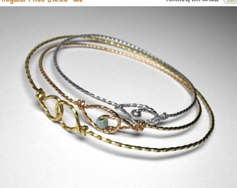 Bangle Bracelets in Silver, Gold, or Rose Gold