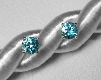 Choice of Blue or Green Zircon Stud Earrings in Silver