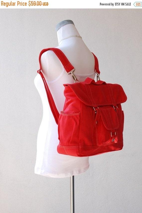 Back To School SALE - 30% Pico2 Backpack  in Cherry Red (Water Resistant) Laptop / Shoulder Bag / Rucksack //Diaper Bag/ School Bag/ Women /