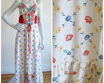 70's Floral Lace-Up Young Edwardian Maxi-Dress