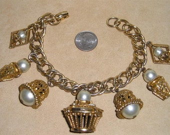 Vintage Faux Pearl Chunky Charm Bracelet With Baskets and Bells 1950's Jewelry K27