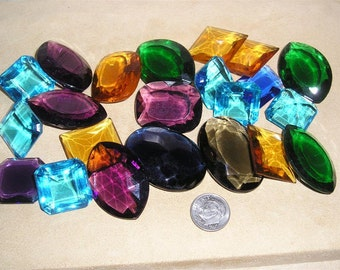 Colored glass stones etsy for Colored stones for crafts