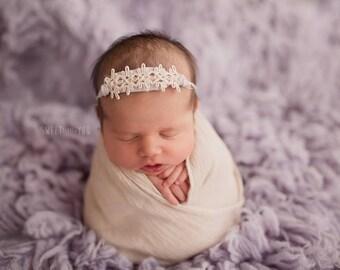 Ivory and Gray Neutral Tieback RTS Newborn Photo Prop
