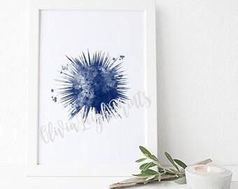 Watercolor Sea Urchin, Art Print, Bathroom Wall Art, Sea Creature,Nautical poster. Instant Download.