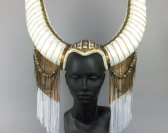 WHITE HORNED HEADDRESS