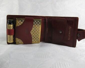 Vintage 1960s HARRIET HUBBARD AYER Set Makeup Compact Box Lipstick & Wallet Red Leather Holder Wallet