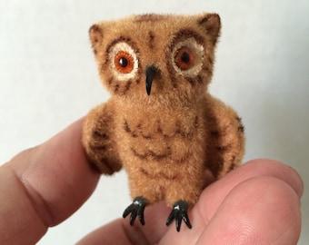 Small Flocked Owl Figurine Kunstlerschutz West Germany Plastic Beak and Claws Orange Glass Eyes Mid Century Vintage Light Brown Owl Woodland