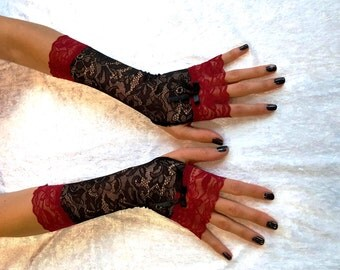 LONG LACE MITTENS Goth Lace Fingerless Gloves Gothic Black Lace Gloves Long Fingerless Lace Gloves Goth Black Lace Gloves Black Lace Gloves