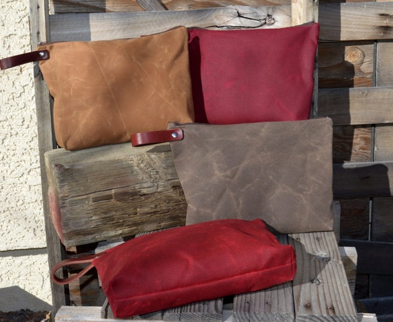 READY TO SHIP Waxed Canvas Pouch