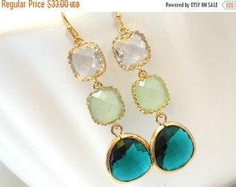SALE Emerald Earrings, Green Earrings, Mint, White, Long Gold Earrings, Bridesmaid Jewelry, Bridesmaid Earrings, Bridal Jewelry, Bridesmaid