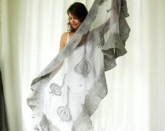FREE SHIPPING Nuno felted shawl - large scarf - wool and silk - holiday shawl