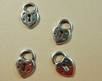 4 Pc Lock for Key Old Fashioned Silver Ox Charms Stamping One Sided Jewelry Collage Mixed Media Altered Art