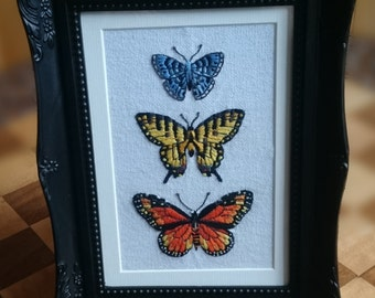 Hand stitched framed Butterfly Crewel work