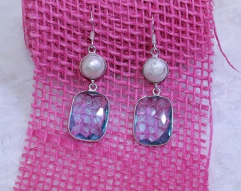 Natural Light Blue Topaz Stone Fresh Water Pearl Silver Plated Dangle Earrings
