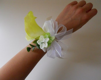 Green Calla Lily Wrist Corsage with Rhinestone Accent