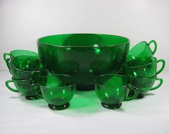 Vintage EMERALD GREEN PUNCH Bowl & Set/12 Cups + Hooks Ladle Anchor Hocking Forest