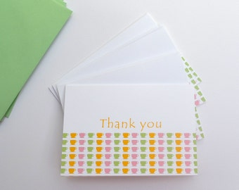 Thank You Folded Card Set  - Note Cards - Stationary - Coffee Cups - Set of 4