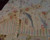 Cottage chic PAIR of tie up valances in stipped and rose print