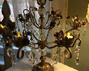 Wedding candle holder, gold Victorian crystal candelabra