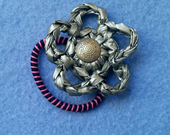 Silver Plarn Flower Ponytail Holder with Vintage Button