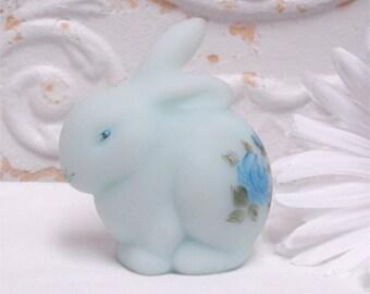 Fenton Bunny Rabbit Satin Blue On Blue Hand Painted Roses