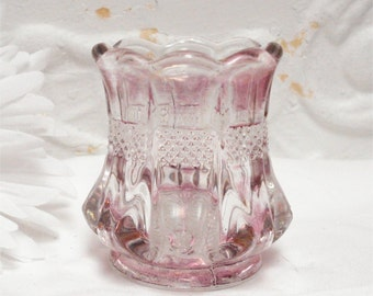Pressed Glass Ruby Flash Toothpick Holder