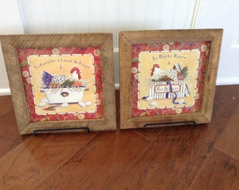 Chicken Framed Prints Farmhouse or French Country Kitchen Decor Pair