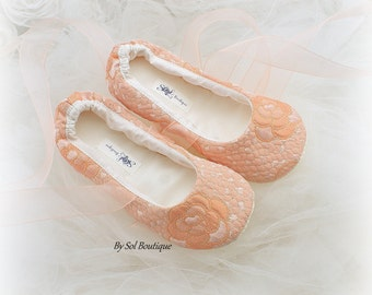 Girl Ballet Slippers, Peach, Blush, Gold, Flower Girl Shoes, Ballet Flats, Birthday Shoes, Prom, Bat Mitzvah, Ballet Slippers, Elegant Flats