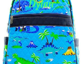 Personalized Dinosaur Print Quilted Backpack -Great Boys Booksack Monogrammed FREE - Aqua with Navy trim