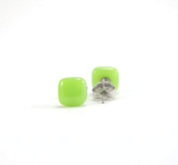 Bright lime green square fused glass stud earrings with surgical steel earring posts