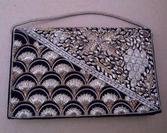 Vintage Clutch, hand beaded & decorated, metallic threads, black Velvet